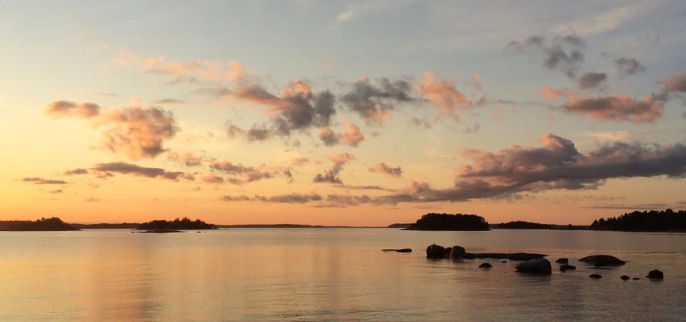 Solnedgång över stilla hav