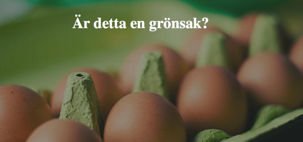 En grön äggkartong med tio bruna ägg i