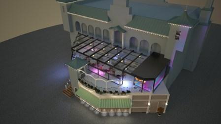 Skisbild uppifrån över restaurangen Terrassen med glastak och spotlights.