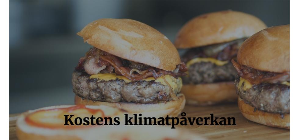 """Hamburgare med bröd tonat med texten """"Kostens klimatpåverkan"""" framför"""