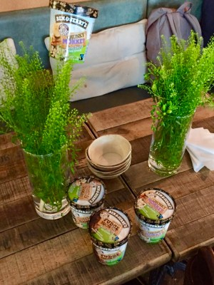 Tre förpackningar Ben & Jerry's veganska smaker på ett träbord tillsammans med två vaser med grönt