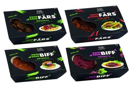 Fyra stycken förpackningar, rektangulära i svart med vit innehållstext om produkterna Färs och Biff