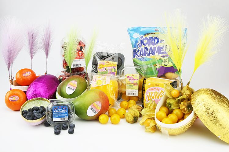 Frukt i och bredvid påskägg