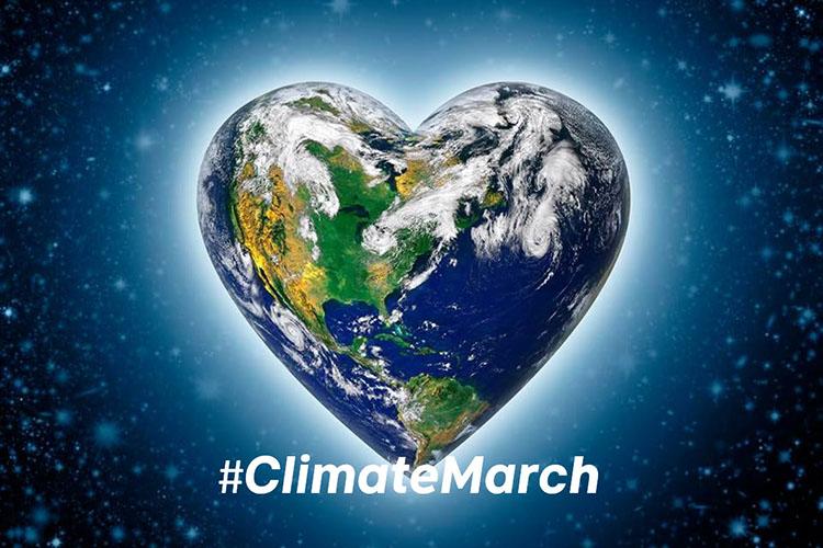 Illustration över jordklotet som ett hjärta i rymden med texten #ClimateMarch