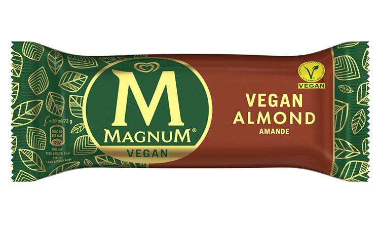 Avlång förpackning i brunt och grönt med gult M på och texten Magnum