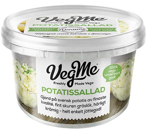 Rund plastförpackning med texten Vegme potatissallad