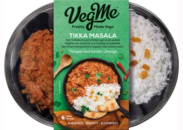 Färdigpackad mat, till vänster gryta och till höger ris