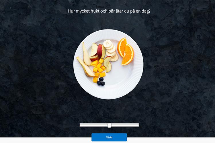 En bildskärmsdump över testet, en tallrik med frukt syns