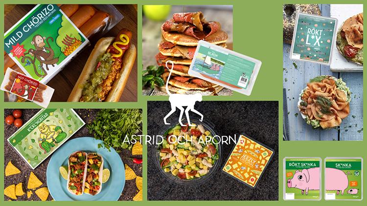 Samlingsbild över olika vegetariska produkter