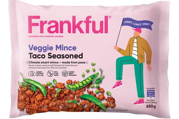 Förpackning till Frankfuls veganska färs Veggie Mince