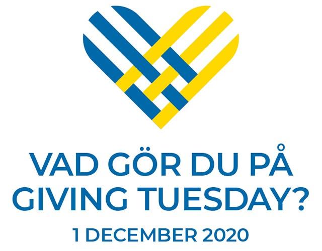 Ett hjärta i blått och gult med texten VAD GÖR DU PÅ GIVING TUESDAY? 1 DECEMBER 2020