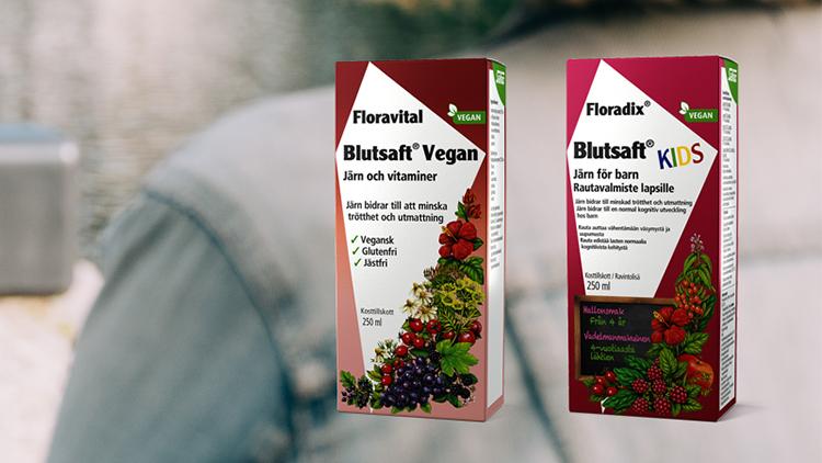 Förpackningar till Blutsaft Vegan och Kids