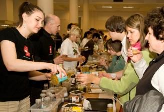 Sampling food at Vegfest