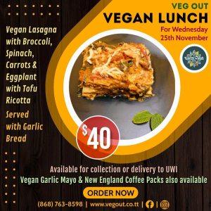 Wednesday 25th November Vegan Lunch