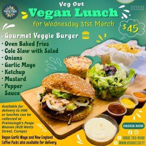 Wednesday 31st March Vegan Lunch