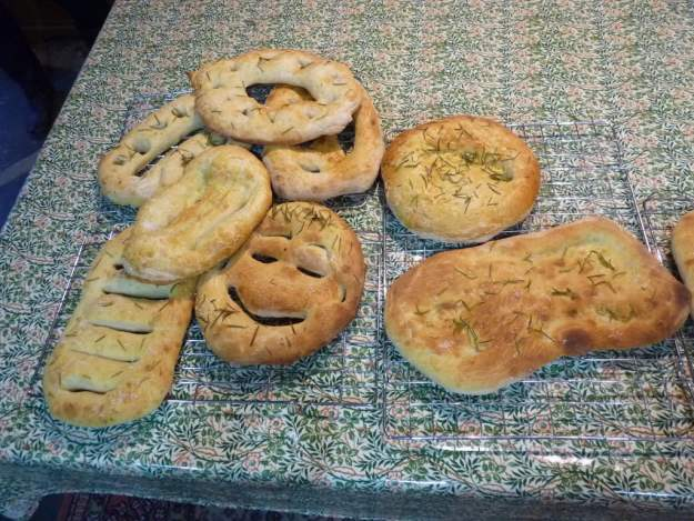 Fougasse and focaccia