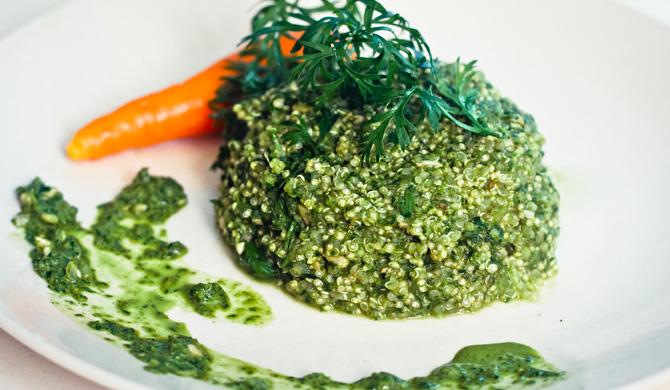 Quinoa al pesto di cime di carota