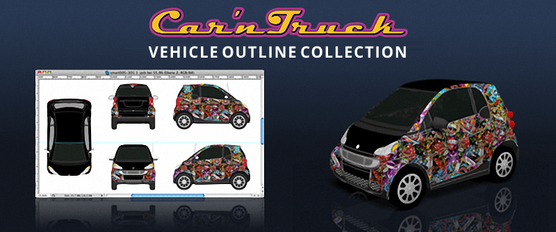 Car 'n Truck Vehicle Templates for Vehicle Wraps - Car Templates - Truck Templates - Van Templates