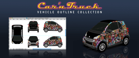 Car 'n Truck Vehicle Outline Collection - Vehicle Templates for Vehicle Wraps