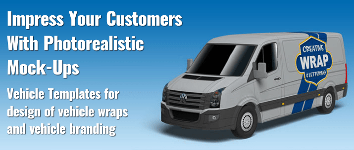 3D renderings of vehicle wraps made with vehicle templates