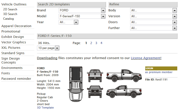 Vehicle Template Search and Download Form