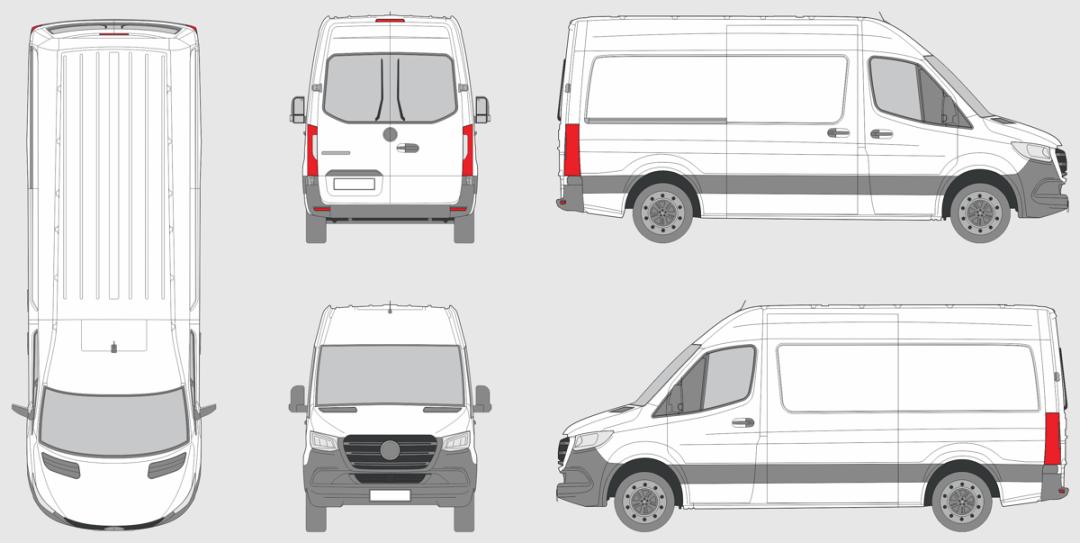 Mercedes Benz Sprinter 2018 Van Vehicle Template