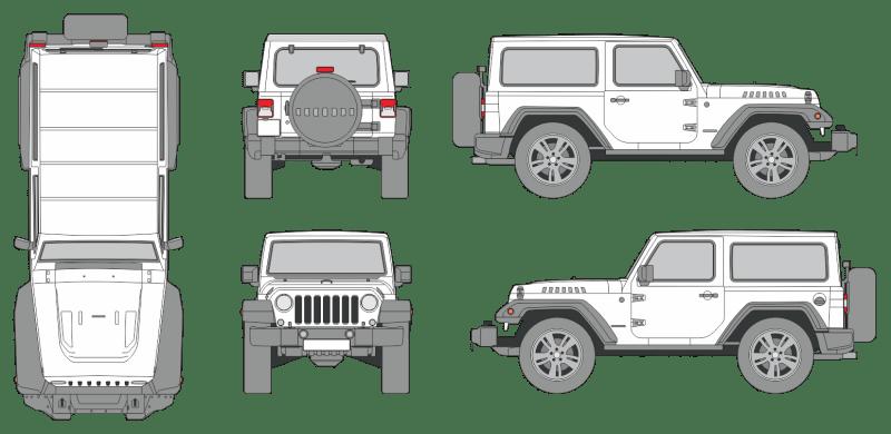 Jeep Wrangler 2018 3-Door Vehicle Template