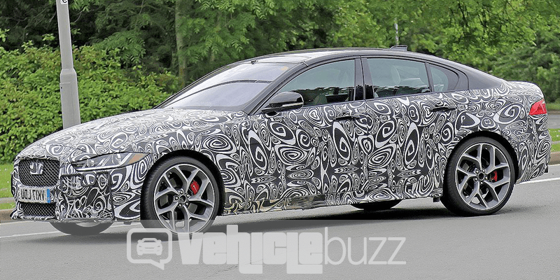 spy photo of high performance 2018 Jaguar XE during road test