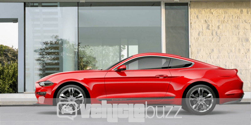 Side view photo of red 2018 Ford Mustang parked in front of building.