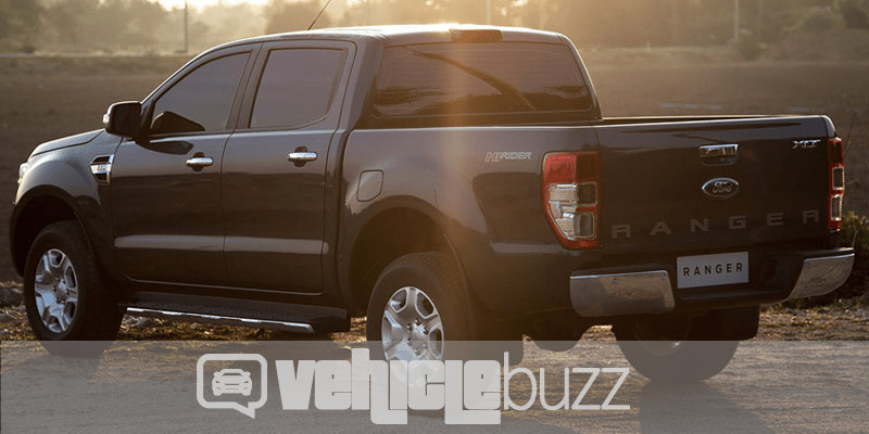 Photograph of black 2019 Ford Ranger from the back.