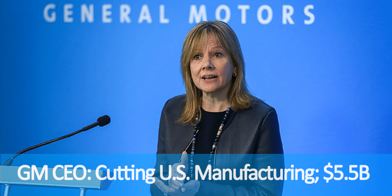 Photo of GM CEO Mary Barra speaking in front of blue background