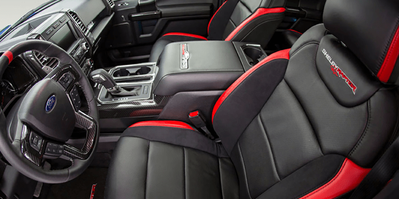 Interior photograph of 2018 Ford F-150 Shelby Raptor leather seats