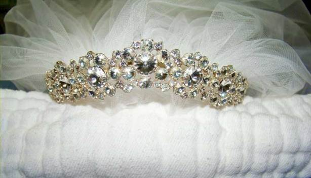 attached to tiara comb