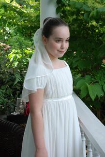 Ribbon edge chiffon communion veil