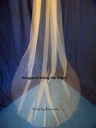 Wedding veil embellishment at the edge