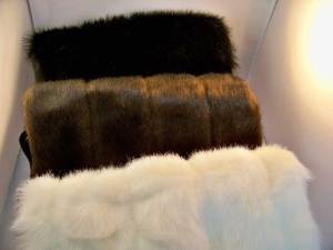 faux fur black, brown and diamond white together