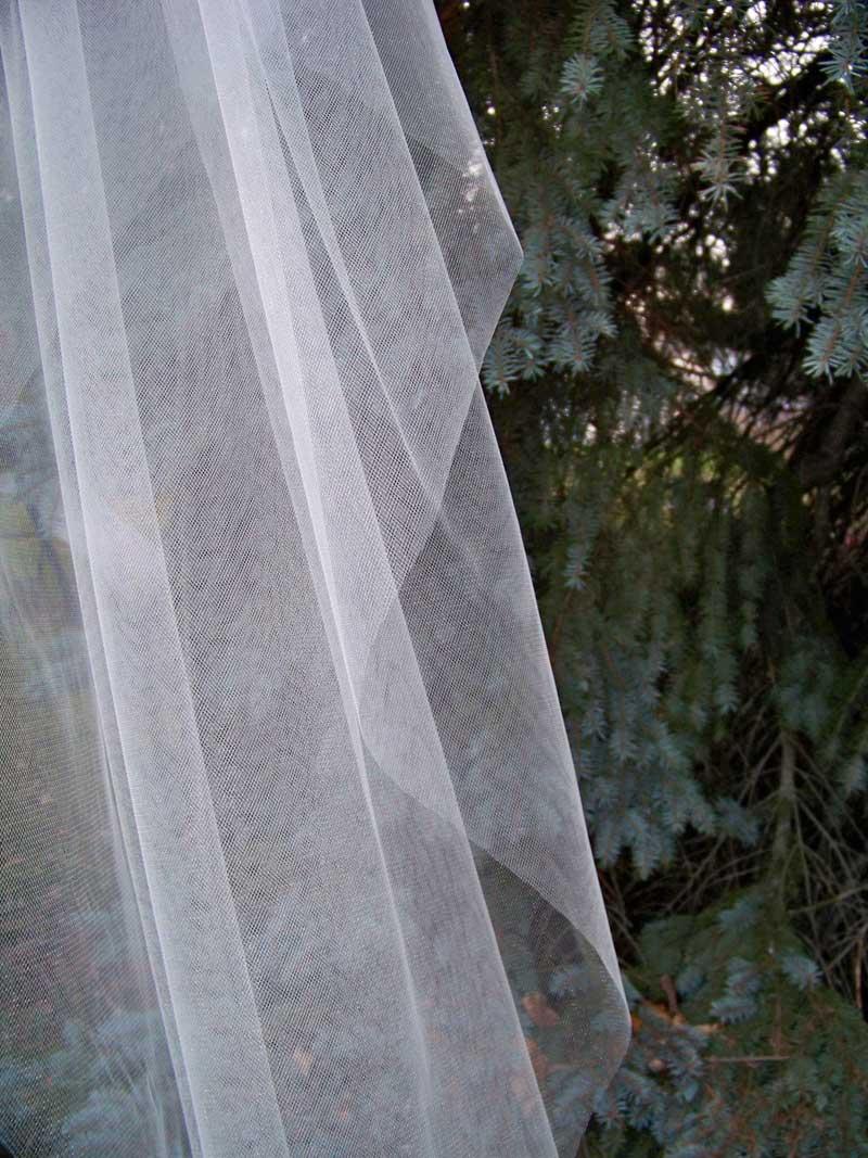 Cut Edge Illusion 1 Tier Cathedral Veil Wedding Veil Long