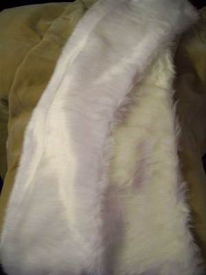 View of faux fur wedding wraps