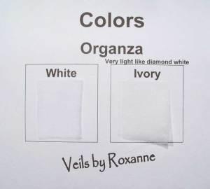 White organza veil or ivory organza veil
