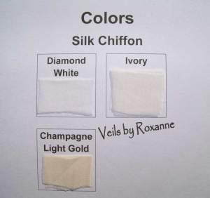 Diamond white, ivory and champagne silk chiffon veil