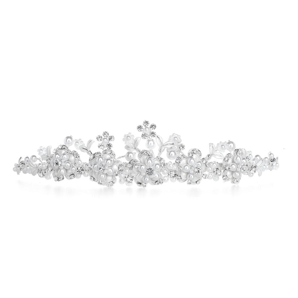Wedding Tiara and Bridal Jewelry Set Silver White Pearl T005 Veils