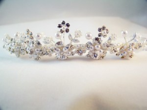 silver and white pearl tiara