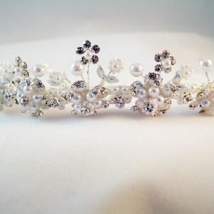 silver and white pearl tiara