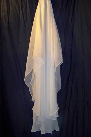 2 tier chiffon veil Oval Shape Pencil Edge