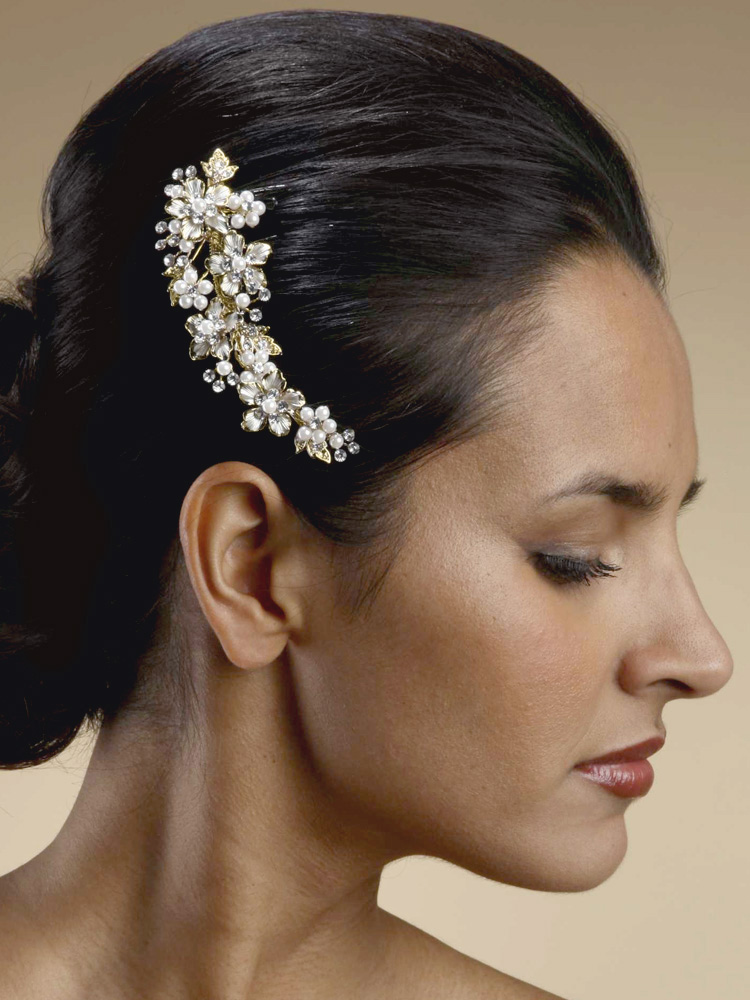 Decorative Hair Comb Gold Ivory Pearl Wedding Comb Side