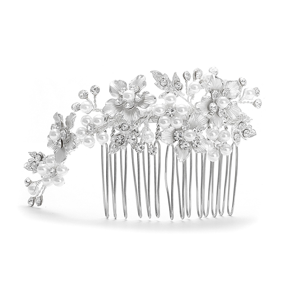 Decorative Hair Comb Silver White Pearl Wedding Comb Side