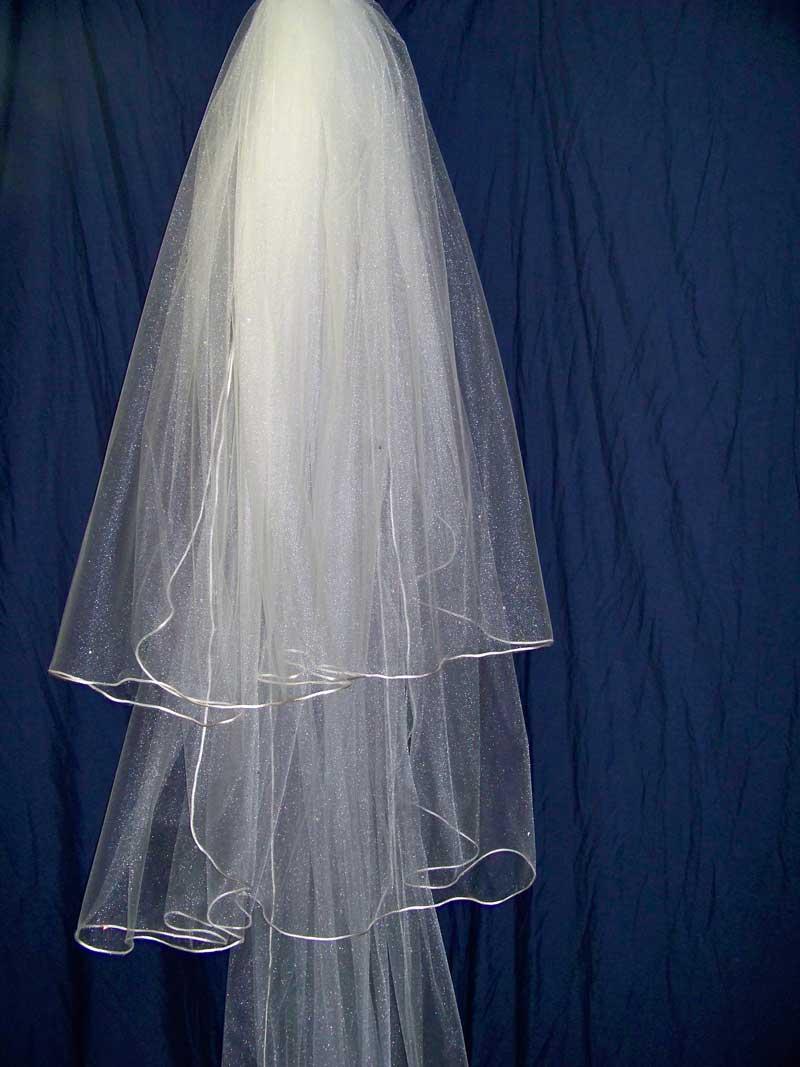 Waltz Wedding Veil 1 Tier Silver or Gold Pencil Edge Custom Made