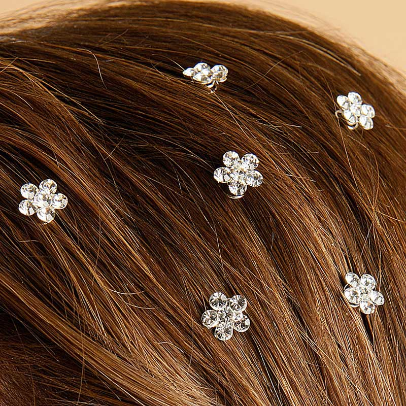 Prom Wedding Rhinestone Flower Hair Sprials Set 12 Hair