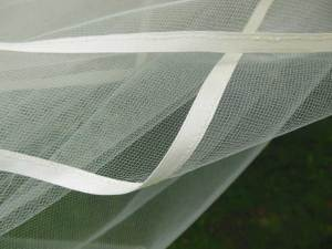 Quarter inch wide ribbon edge bridal veil