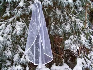 mantilla veil with ribbon edge